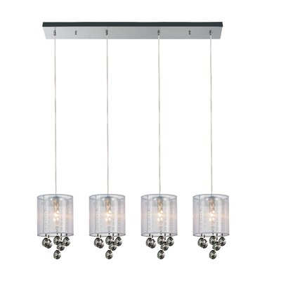 4-Light Kitchen Island Pendant Shade Color: Smoke White