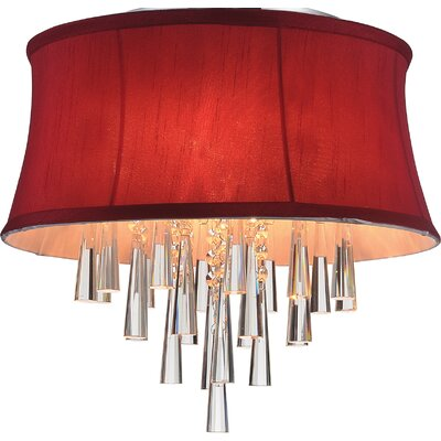 Audrey 4-Light Flush Mount Shade Color: Rose Red