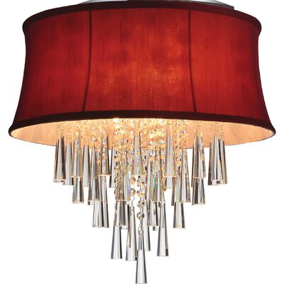 Audrey 6-Light Flush Mount Shade Color: Rose Red