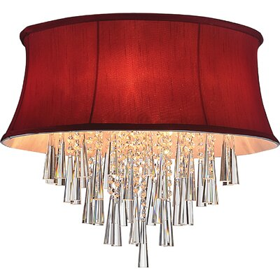 Audrey 8-Light Flush Mount Shade Color: Rose Red