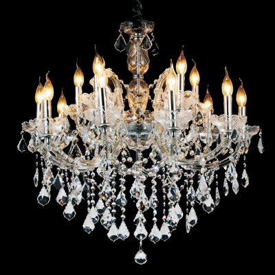 Richards 15-Light Candle-Style Chandelier Crystal Color: Clear, Size: 151 H x 32 W x 32 D