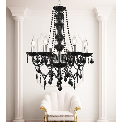 Bokara Hills 6-Light Candle-Style Chandelier Finish: Black