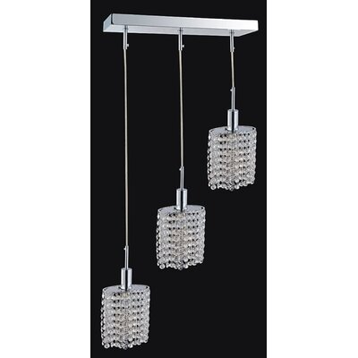 Boleyn 3-Light Chrome Cascade Pendant