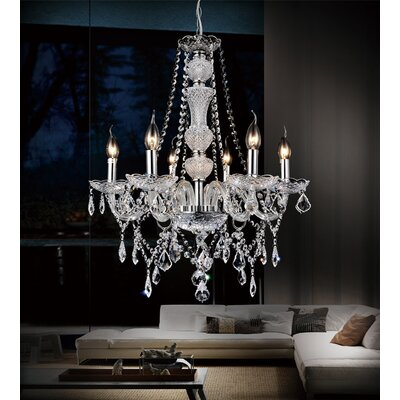 Bokara Hills 6-Light Candle-Style Chandelier Finish: Clear