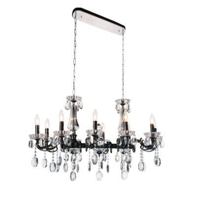 Combs 10-Light Crystal Pendant Finish: Black