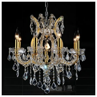 Orr Crystal 9-Light Candle-Style Chandelier Crystal Color: Smoke