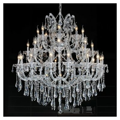Orr Crystal 33-Light Candle-Style Chandelier Crystal Color: Clear, Finish: Gold