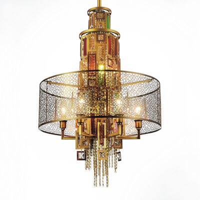 Hazel 11-Light Drum Chandelier Finish: Gold