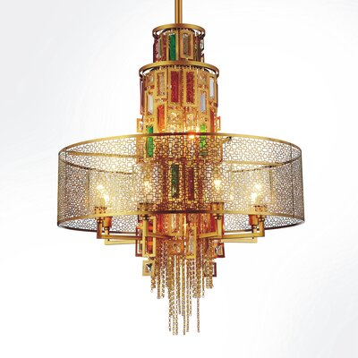 Deasia 15-Light Drum Chandelier Finish: Gold