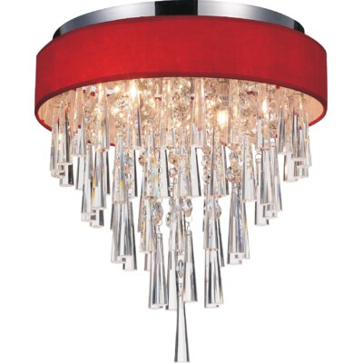 Chenai 4-Light Flush Mount Finish: Red