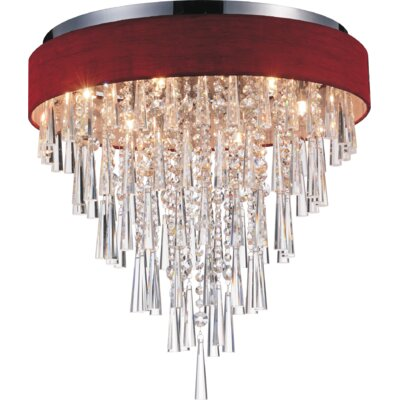 Chenai 8-Light Flush Mount Finish: Wine Red