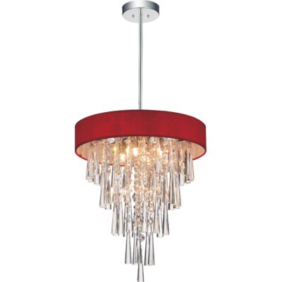 Chenai 6-Light Crystal Chandelier Finish: Red