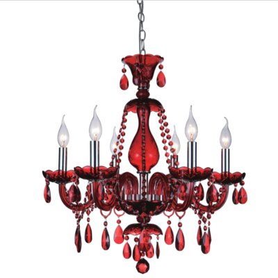 Xandra Red 6-Light Candle-Style Chandelier