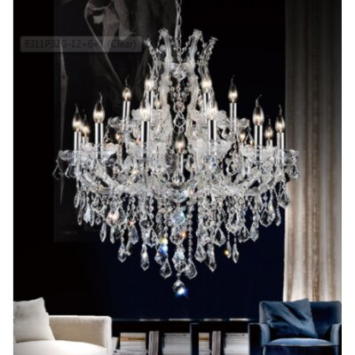 Orr Crystal 19-Light Candle-Style Chandelier Finish: Gold