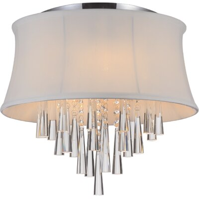 Audrey 4-Light Flush Mount Shade Color: White