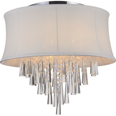 Audrey 6-Light Flush Mount Shade Color: White