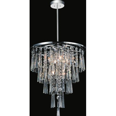 6-Light Crystal Chandelier Size: 88 H x 16 W x 16 D