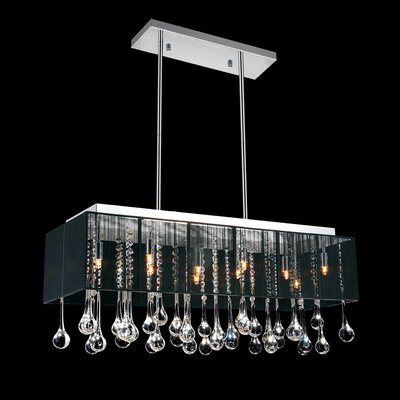 10-Light Crystal Pendant Shade Color: Black, Crystal: Clear