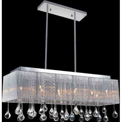 10-Light Crystal Pendant Shade Color: Silver, Crystal: Clear