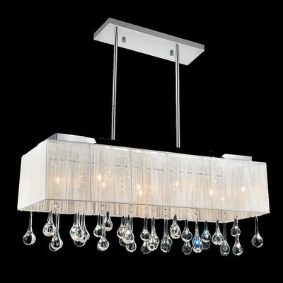 10-Light Crystal Pendant Shade Color: White, Crystal: Clear