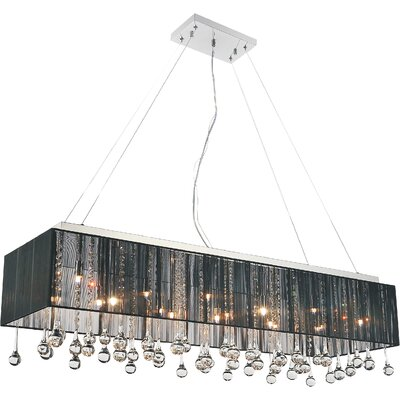 14-Light Crystal Pendant Shade Color: Black