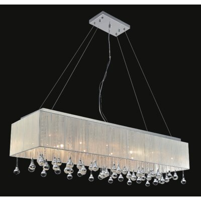14-Light Crystal Pendant Shade Color: White