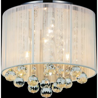 4-Light Flush Mount Shade Color: White