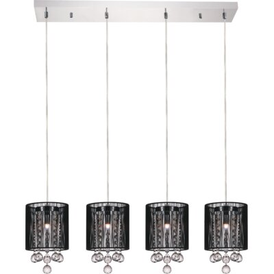 4-Light Kitchen Island Pendant Shade Color: Black