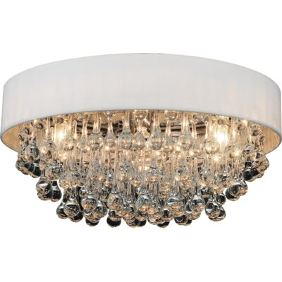 6-Light Flush Mount Shade Color: White