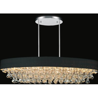 10-Light Crystal Chandelier Shade Color: Black