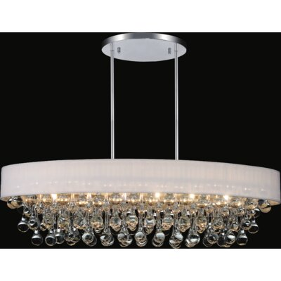 10-Light Crystal Chandelier Shade Color: White