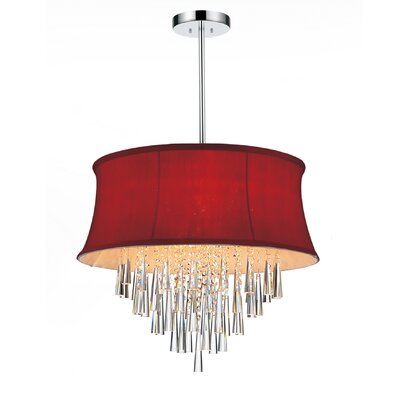 Audrey 6-Light Drum Chandelier Shade Color: Rose Red