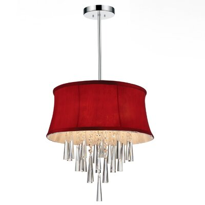 Audrey 4-Light Drum Chandelier Shade Color: Rose Red