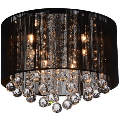 4-Light Flush Mount Shade Color: Black