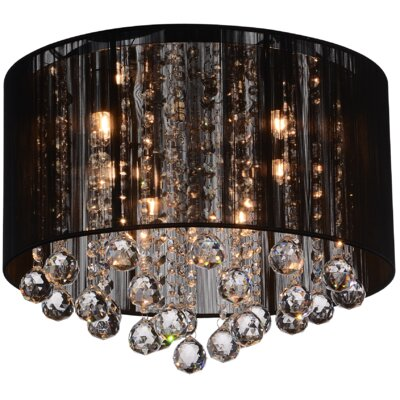 6-Light Flush Mount Shade Color: Black