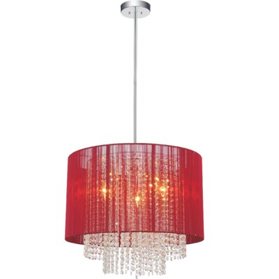 3-Light LED Drum Chandelier Shade Color: Red