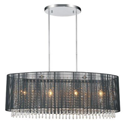 6-Light LED Drum Chandelier Shade Color: Black