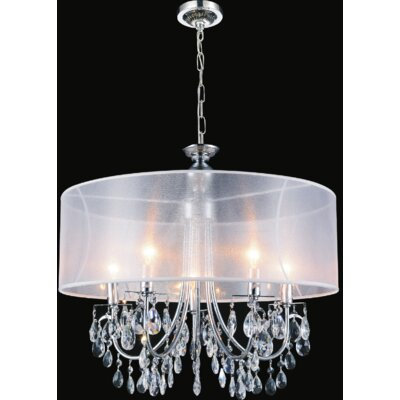 8-Light LED Drum Chandelier Shade Color: White