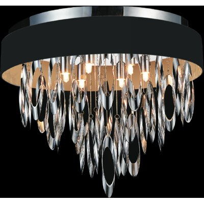 Excel 6-Light Flush Mount Shade Color: Black