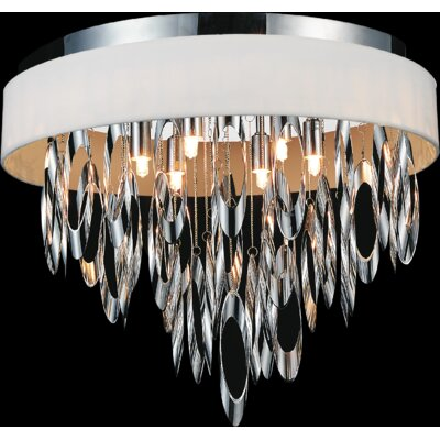 Excel 6-Light Flush Mount Shade Color: White