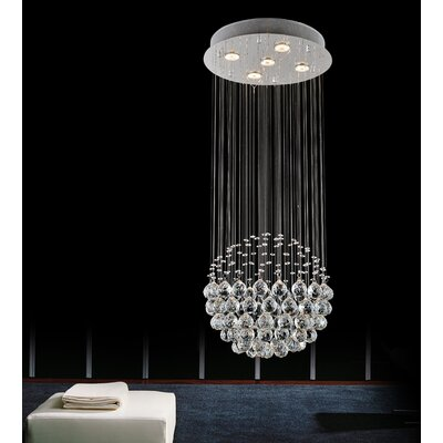 5-Light Flush Mount Size: 39 H x 20 W x 20 D, Bulb Type: Incandescent/LED