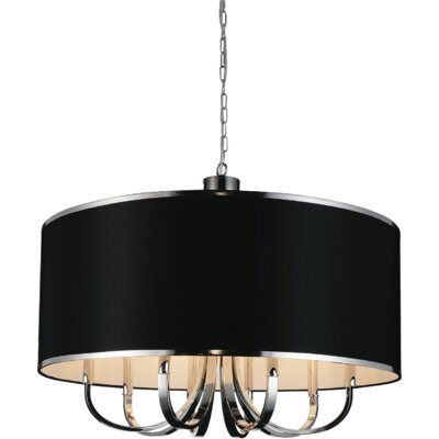 Orchid 1-Light Drum Pendant Shade Color: Black