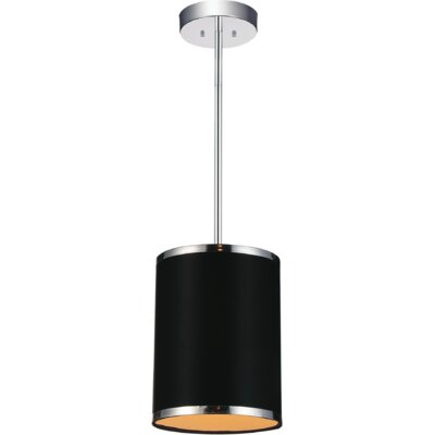 Orchid 1-Light Mini Pendant Shade Color: Black