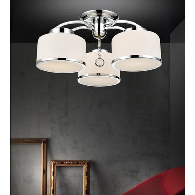 Frosted 3-Light Semi Flush Mount