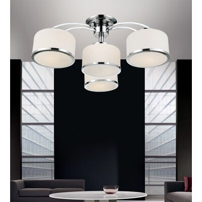 Frosted 4-Light Semi Flush Mount