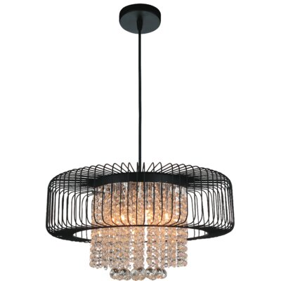 Gloria 6-Light Drum Chandelier Finish: Black