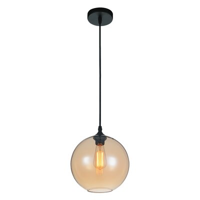 Glass 1-Light Globe Pendant Shade Color: Amber