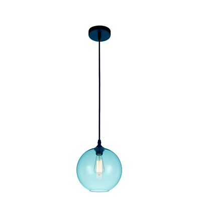 Glass 1-Light Globe Pendant  Shade Color: Blue