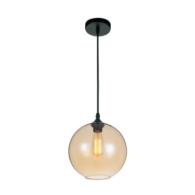 Glass 1-Light Globe Pendant  Shade Color: Cognac