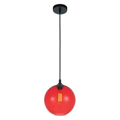Glass 1-Light Globe Pendant Shade Color: Red